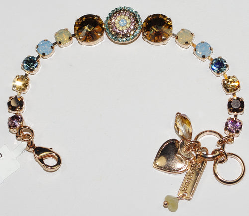 MARIANA  BRACELET RHAPSODE:  amber, blue, white, pink stones in rose gold setting