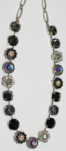 "MARIANA NECKLACE ADELINE: black, a/b, clear, taupe, amber stones in 18"" silver adjustable chain"