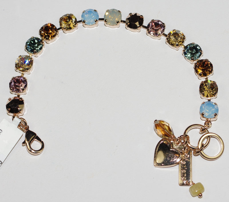 "MARIANA BRACELET RHAPSODE BETTE: 3/8"" blue, pink, amber stones in rose gold setting"