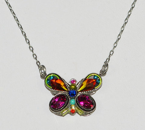 "FIREFLY NECKLACE BUTTERFLY FANCY MC: multi color stones in 3/4"" pendant, silver 16"" adjustable chain"