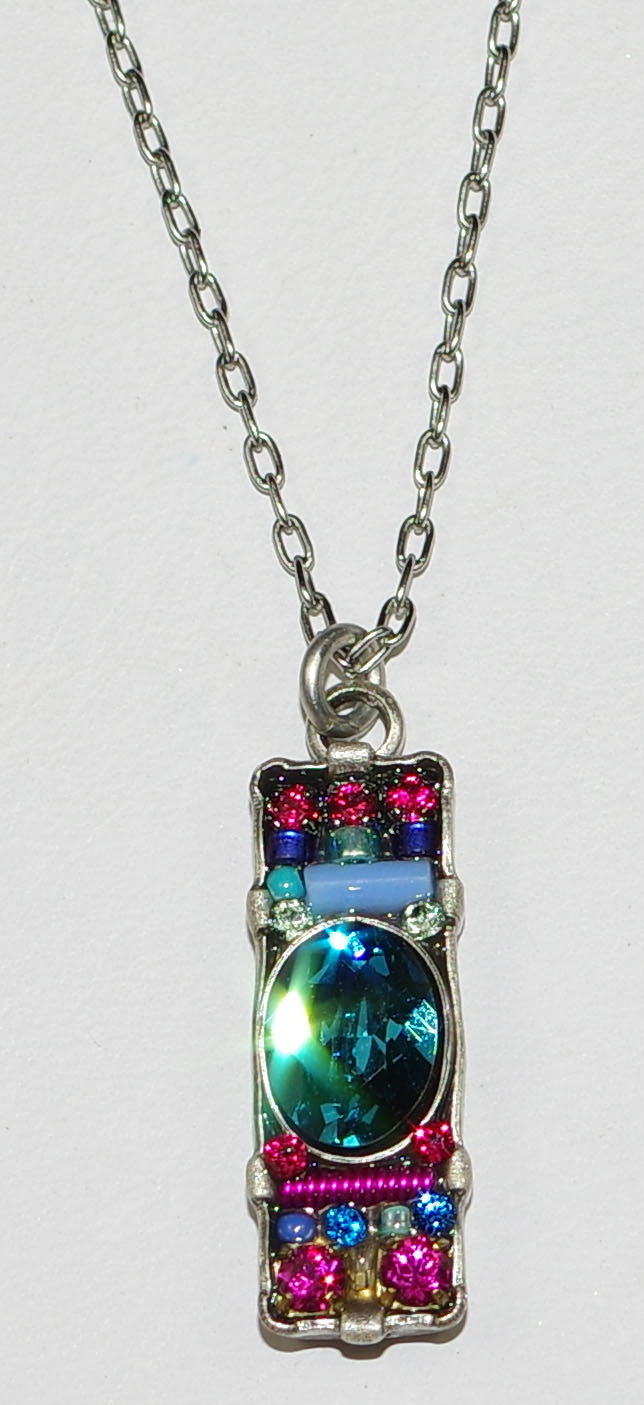 "FIREFLY NECKLACE DAINTY SINGLE BAR BB: multi color stones in 3/4"" pendant, silver 18"" adjustable chain"