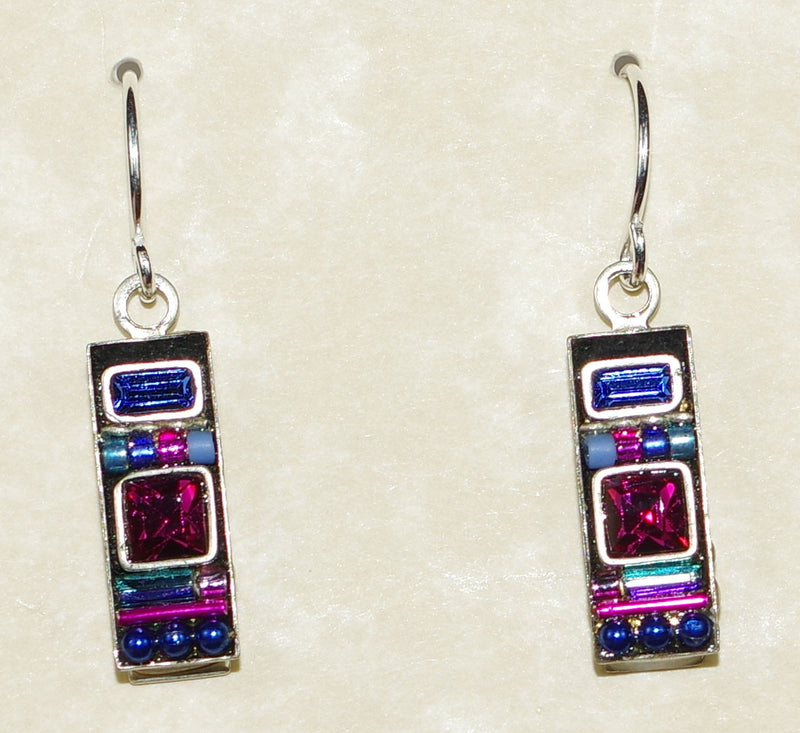 "FIREFLY EARRINGS LA DOLCE VITA RECT BB:  pink, blue, purple stones in 5/8"" silver setting, wire backs"