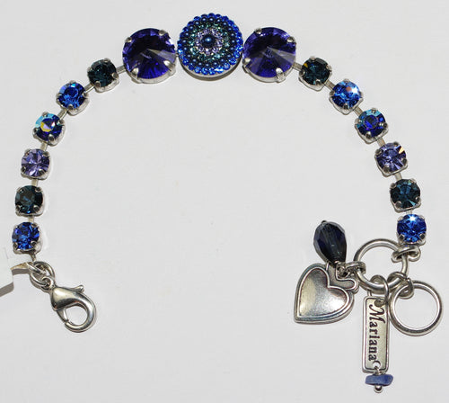 MARIANA  BRACELET ELECTRA: blue, purple stones in silver setting
