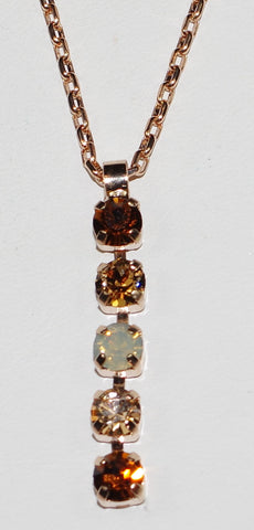 "MARIANA PENDANT APHRODITE: brown, amber, white stones in 1.25"" rose gold setting, 18"" adjustable chain"