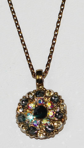 "MARIANA ANGEL PENDANT ADELINE: black, a/b, yellow, grey stones in european gold setting, 18"" adjustable chain"