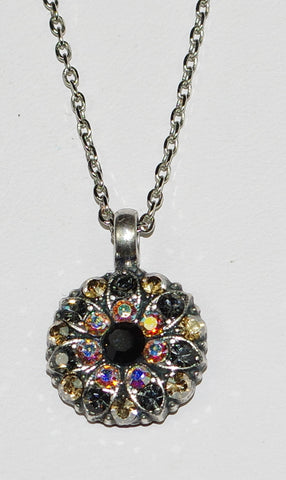 "MARIANA ANGEL PENDANT ADELINE: black, a/b, yellow, grey stones in silver setting, 18"" adjustable chain"