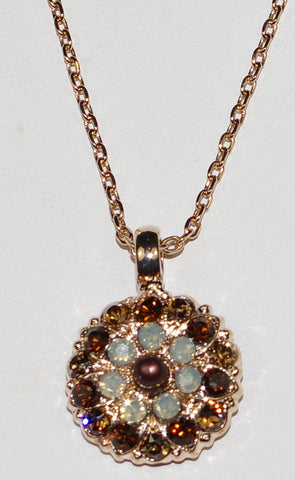 "MARIANA ANGEL PENDANT APHRODITE: brown, grey, amber stones in rose gold setting, 18"" adjustable chain"