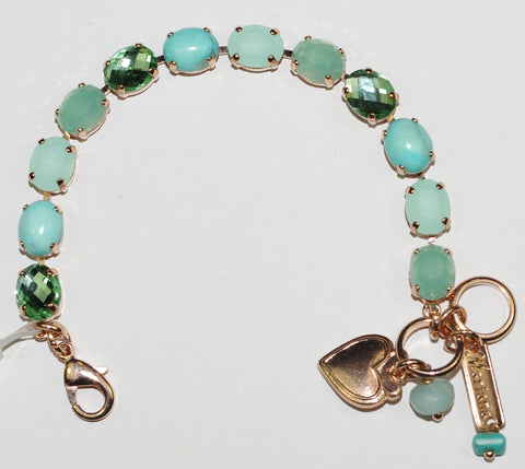 MARIANA  BRACELET ATHENA:  aqua, pacific opal stones in rose gold setting
