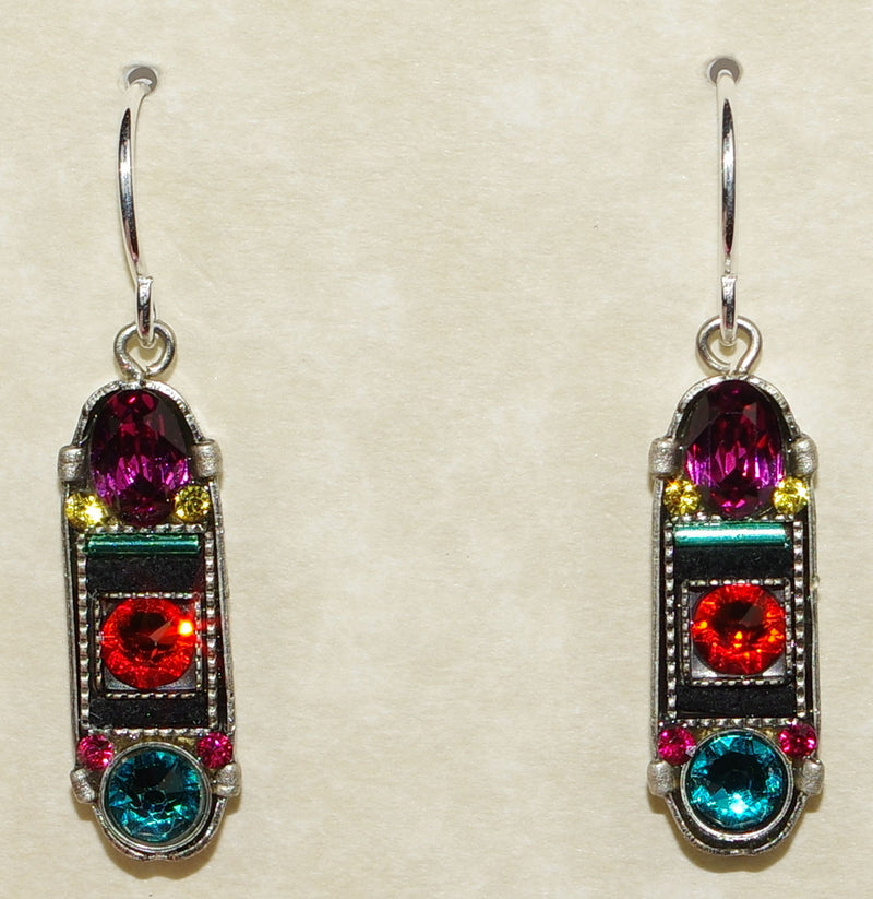 "FIREFLY EARRINGS LA DOLCE VITA OVAL MC: multi color stones in 3/4"" silver setting, wire backs"