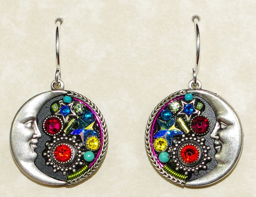 "FIREFLY EARRINGS MIDNIGHT MOON MC: multi color stones in 3/4"" silver setting, wire backs"