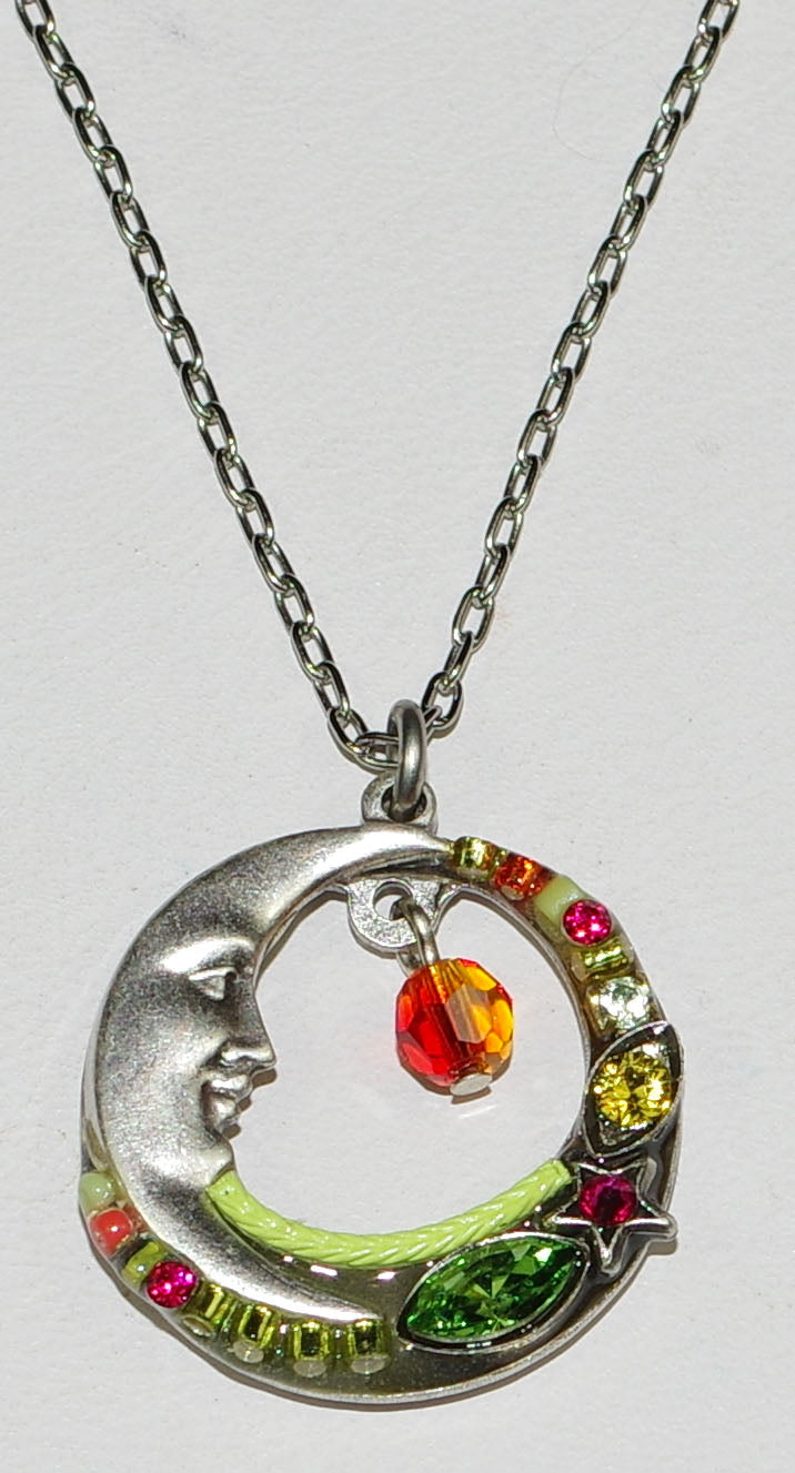 "FIREFLY NECKLACE CELESTIAL MOON TUTTI: multi color stones in 3/4"" pendant, silver 18"" adjustable chain"