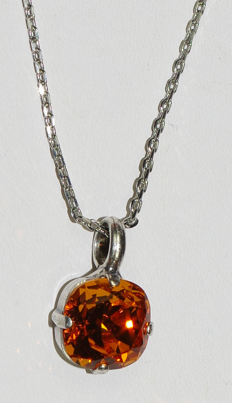 "MARIANA PENDANT: amber stone in 1/2"" silver setting, 18"" adjustable chain"