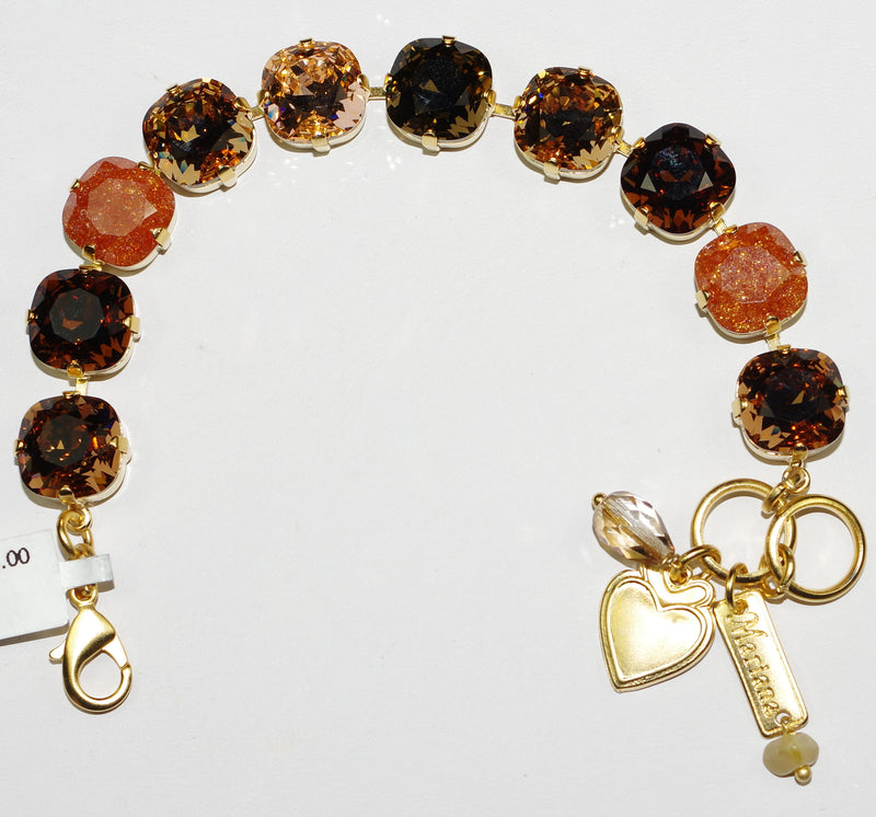 MARIANA  BRACELET APHRODITE: amber, brown, rose stones in yellow gold setting