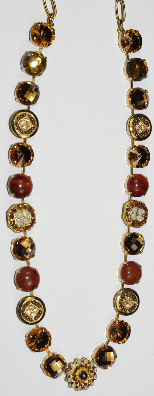 "MARIANA NECKLACE APHRODITE: amber, brown, white, mineral stones 20"" adjustable european gold chain"