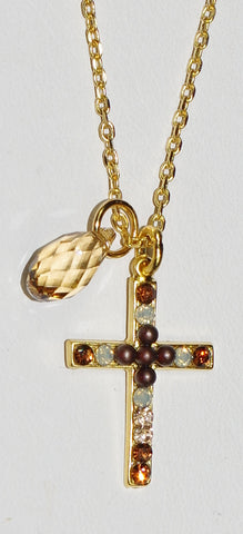 "MARIANA CROSS PENDANT APHRODITE: brown, white, amber stones in 1"" yellow gold setting, 18"" adjustable chain"