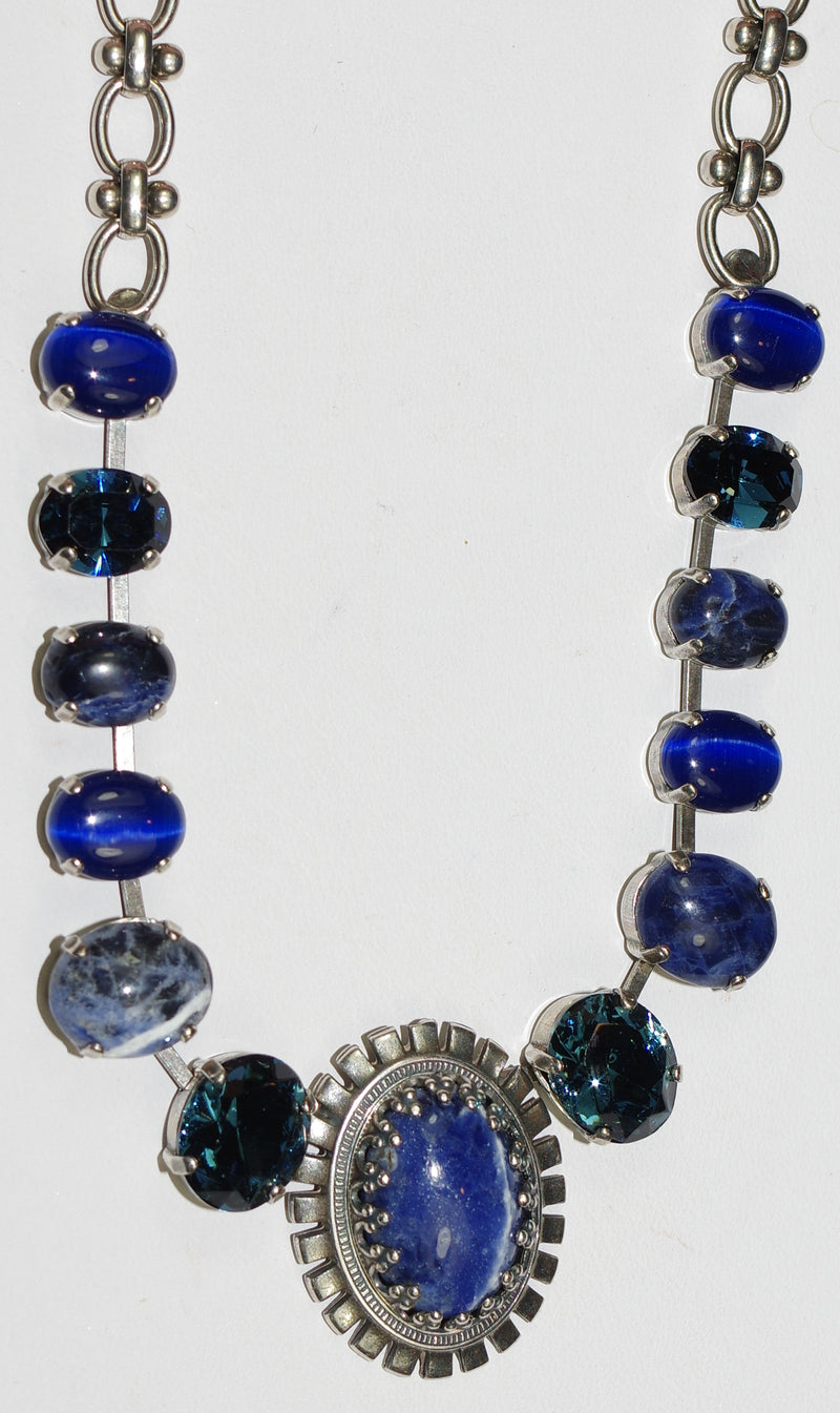 "MARIANA NECKLACE MOOD INDIGO: blue, mineral stones in silver setting, 20"" adjustable chain"