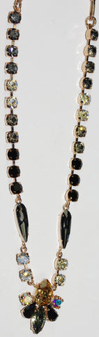 "MARIANA NECKLACE ADELINE: amber, black, a/b, blue, clear stones in 20"" adjustable rose gold chain"