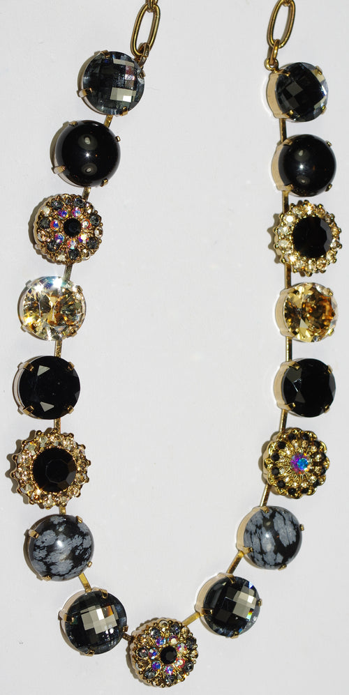"MARIANA NECKLACE ADELINE: amber, black, a/b, and mineral 5/8"" stones, 17"" adjustable european gold chain"