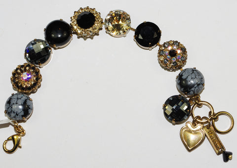 MARIANA  BRACELET ADELINE: amber, black, grey, a/b stones in european gold setting