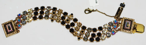 MARIANA BRACELET ADELINE: amber, black, a/b, grey stones in european accent setting