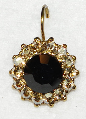 "MARIANA EARRINGS ADELINE: amber, black stones in 3/4"" european gold setting, lever back"