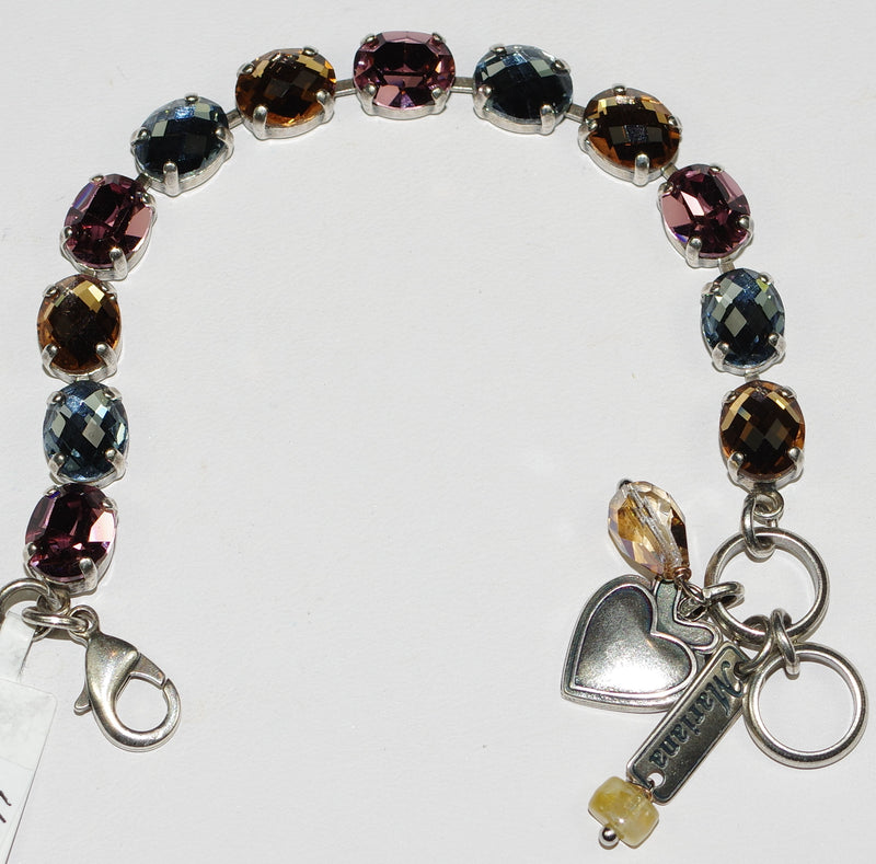 MARIANA BRACELET RHAPSODE: blue, amber, pink stones in silver rhodium setting