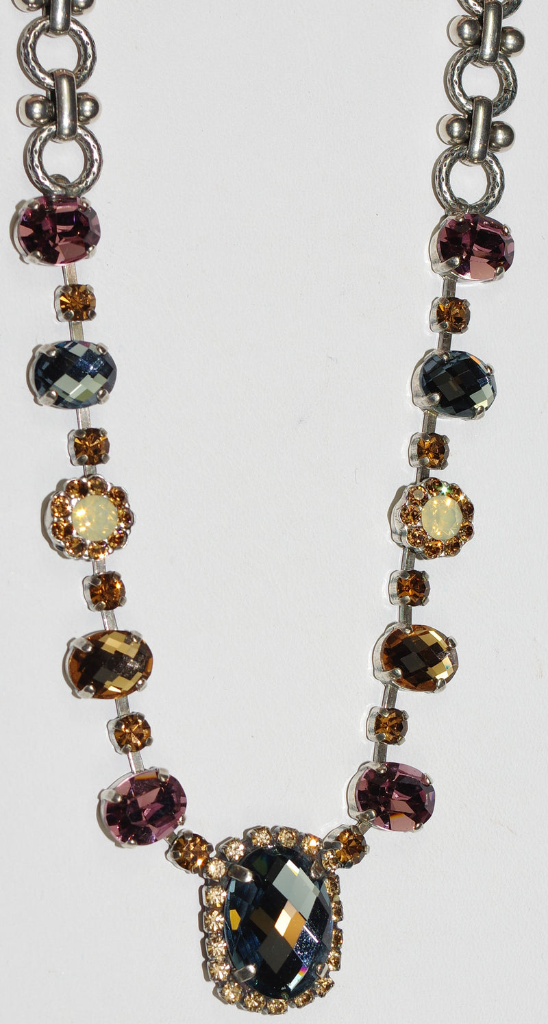 "MARIANA NECKLACE RHAPSODE: amber, blue, purple stones in silver setting, 20"" adjustable chain"