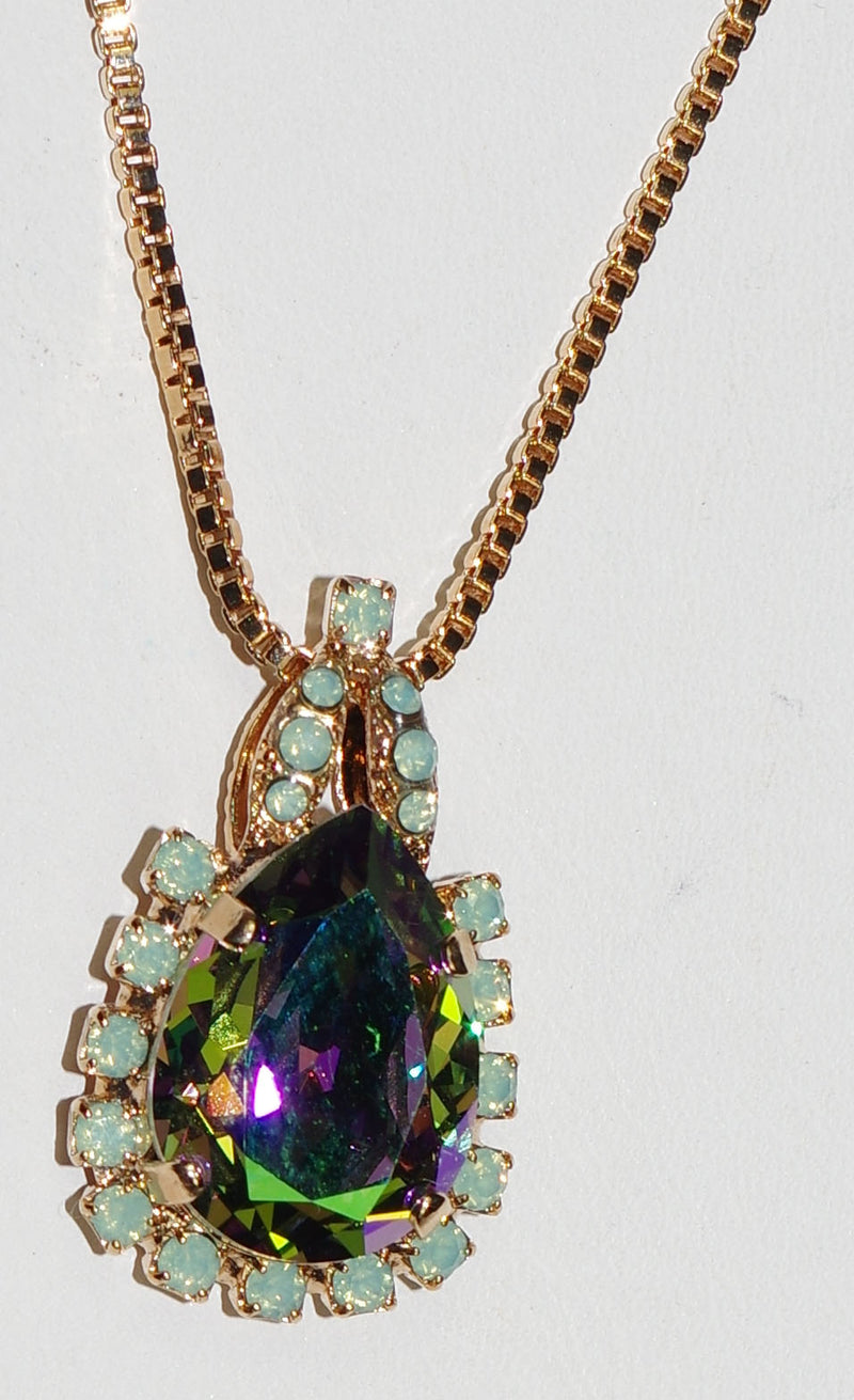 "MARIANA PENDANT: purple a/b, pacific opal stones in 1.25"" rose gold setting, 32"" adjustable chain"