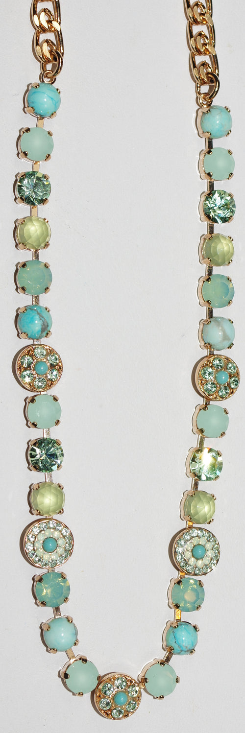 "MARIANA NECKLACE ATHENA: green, blue stones in rose gold setting, 18"" adjustable chain"