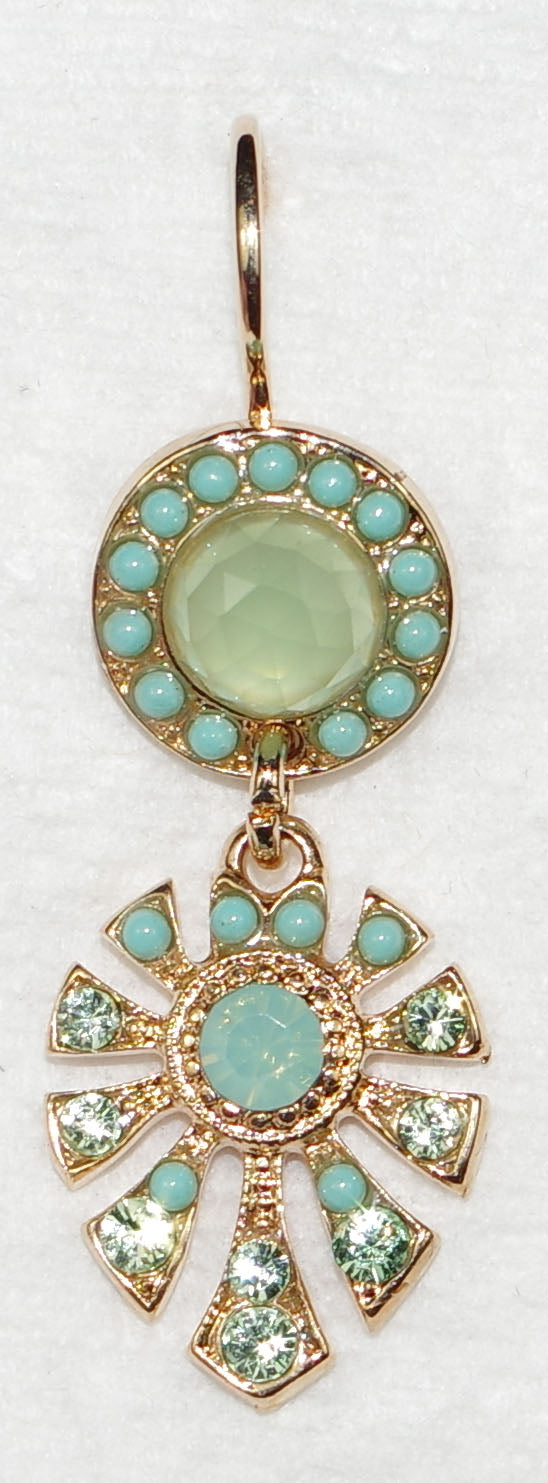 "MARIANA EARRINGS ATHENA DUNAWAY: green, blue stones in 1.75"" rose gold setting, lever back"