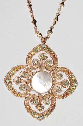 "MARIANA  PENDANT AURORA: a/b, white mineral stones in 2.5"" rose gold setting, 30"" adjustable chain"