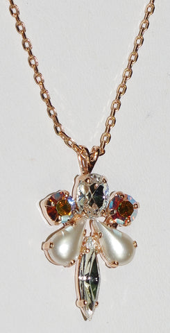 "MARIANA  PENDANT AURORA: clear, a/b, pearl stones in 1"" rose gold setting, 17"" adjustable chain"