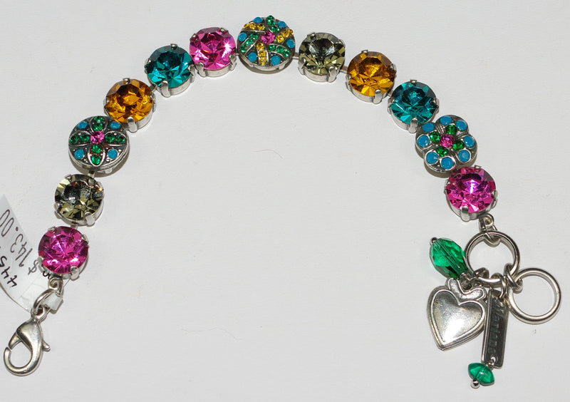 MARIANA BRACELET SELENE: pink, teal, amber stones in silver setting