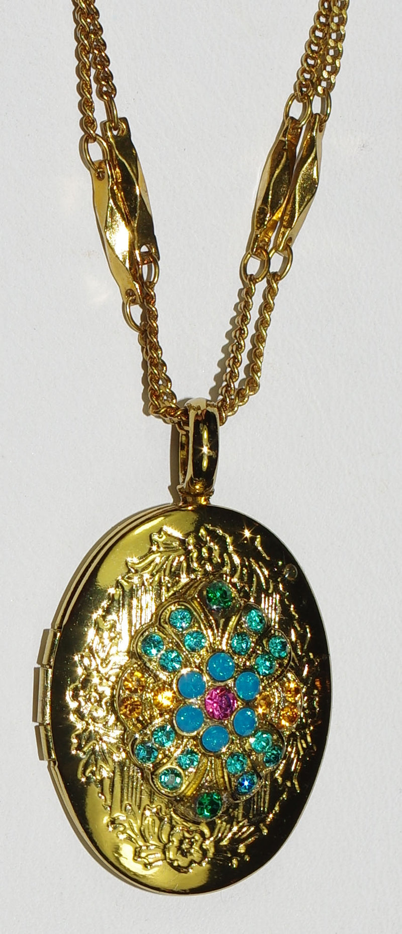 "MARIANA LOCKET PENDANT SELENE: blue, pink, amber stones in 1"" european gold setting, 18"" double adjustable chain"
