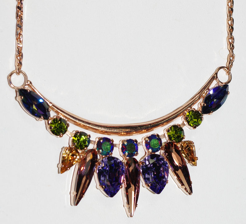 "MARIANA NECKLACE PENELOPE: purple, green, amber stones in 3"" rose gold setting, 18"" adjustable chain"