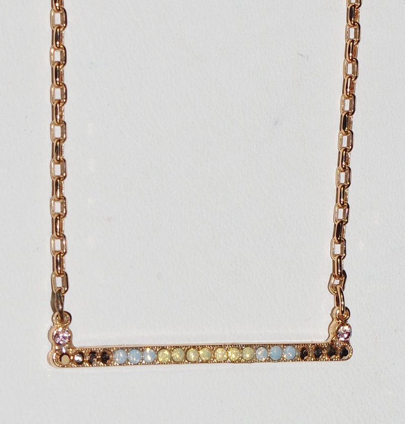 "MARIANA  PENDANT RHAPSODE: blue, yellow, gold stones, in 1.5"" rose gold setting, 18"" adjustable chain"