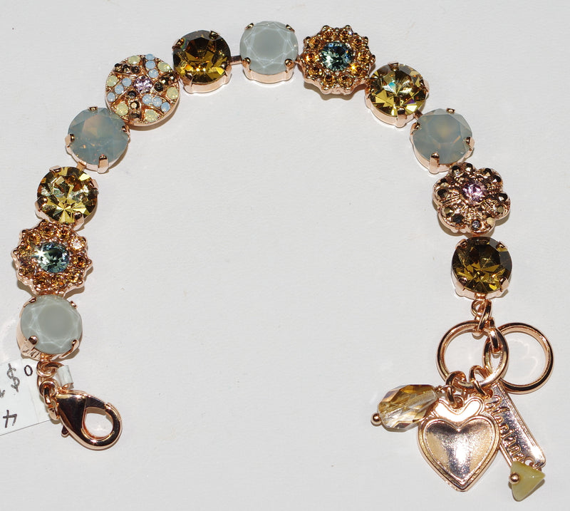 MARIANA BRACELET RHAPSODE: amber, pink, blue stones in rose gold setting