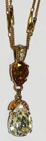 "MARIANA  PENDANT AURORA: clear, amber, a/b stones in 18"" european gold setting, adjustable chain"