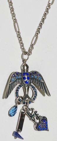 "MARIANA  PENDANT ELECTRA: blue, purple stones in 2.5"" silver setting, 32"" adjustable chain"