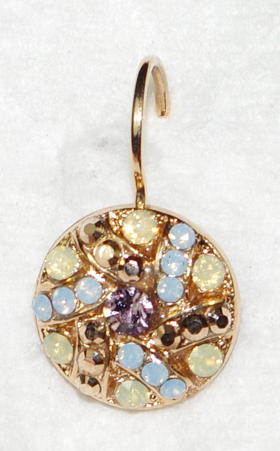 "MARIANA EARRINGS RHAPSODE: gold, blue, yellow, pink stones in 1/2"" rose gold setting, lever back"