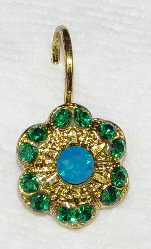 "MARIANA EARRINGS SELENE: blue, green in 1/2"" european gold setting, lever back"