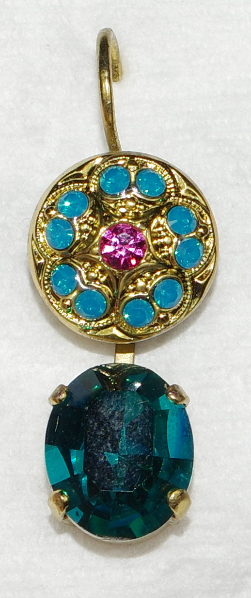 "MARIANA EARRINGS SELENE: teal, pink stones in 1"" european gold setting, lever back"