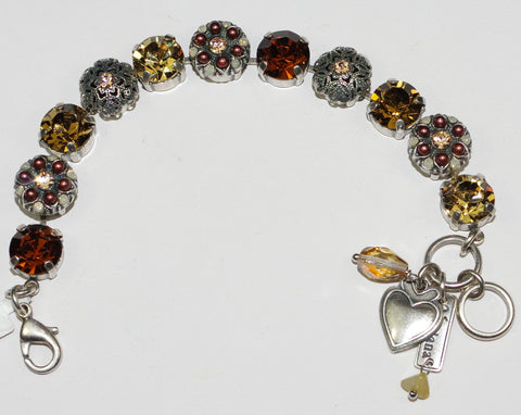 MARIANA  BRACELET APHRODITE: brown, amber stones in silver setting