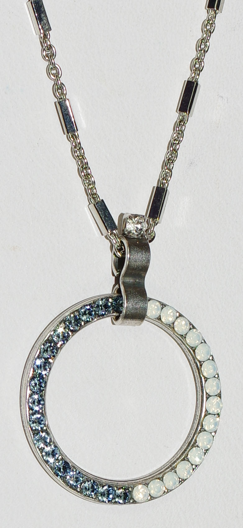 "MARIANA PENDANT MOOD INDIGO: white, blue stones in 1"" silver setting, 20"" adjustable chain"
