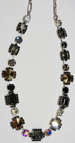 "MARIANA NECKLACE ADELINE: amber, clear, black stones in silver setting, 18"" adjustable chain"