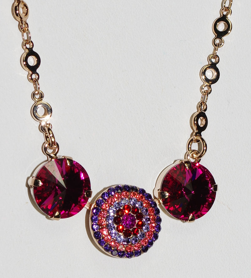 "MARIANA PENDANT XENIA: pink, purple, salmon stones in rose gold setting, 20"" adjustable chain"