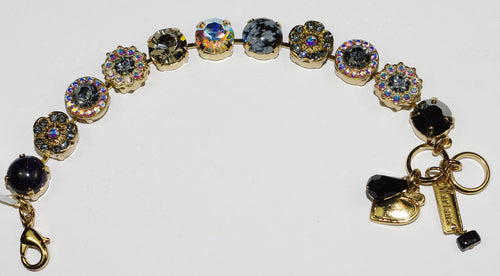 MARIANA  BRACELET TUXEDO SOPHIA: black, taupe, a/b stones in yellow gold setting
