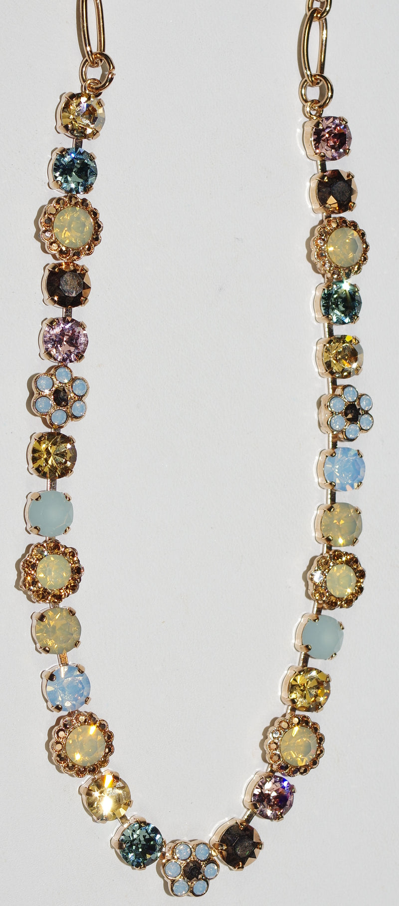 "MARIANA NECKLACE RHAPSODE JAYNE: blue, amber, pink stones in rose gold setting, 18"" adjustable chain"