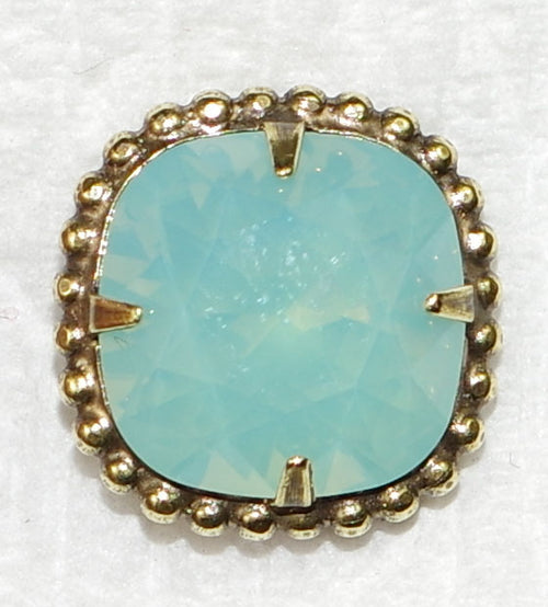 "SORRELLI EARRINGS CUSHION-CUT SOLATAIRE PACIFIC OPAL: 5/8"" post rounded-edge, cushion cut stone in vintage inspired decorative edge border, in antique gold setting"
