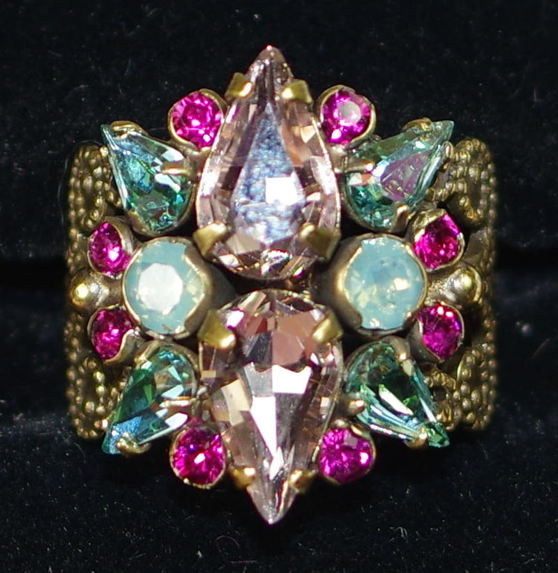 SORRELLI RING ALSTROMERIA RADIANT: crystal cluster on adjustable delicate fillagree antique gold band